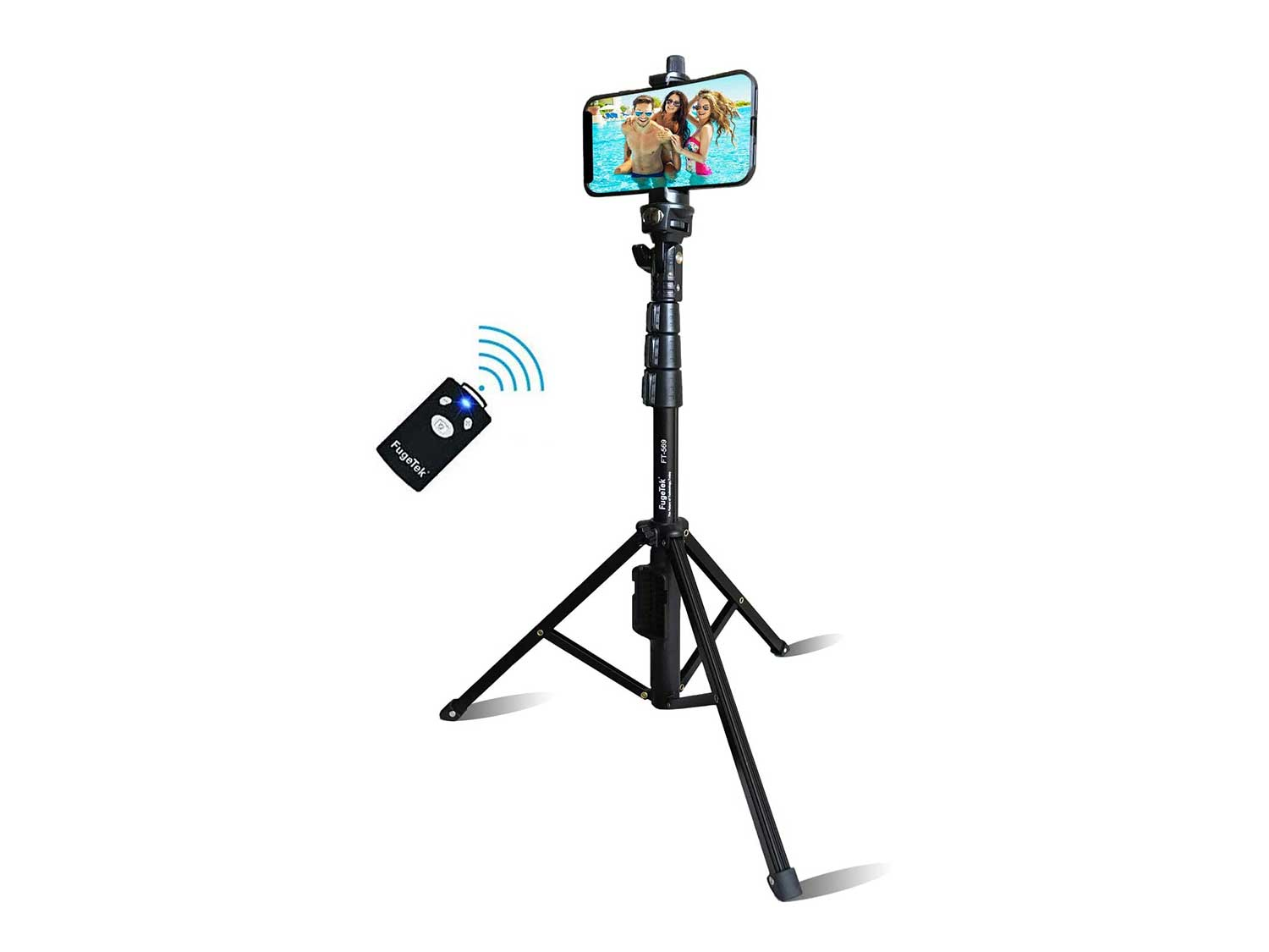 Selfie Stick & Tripod Fugetek, Integrated, Portable All-in-One Professional, Heavy Duty Aluminum, Bluetooth Remote Compatible with Apple & Android Devices, Non Skid Tripod Feet, Extends to 51