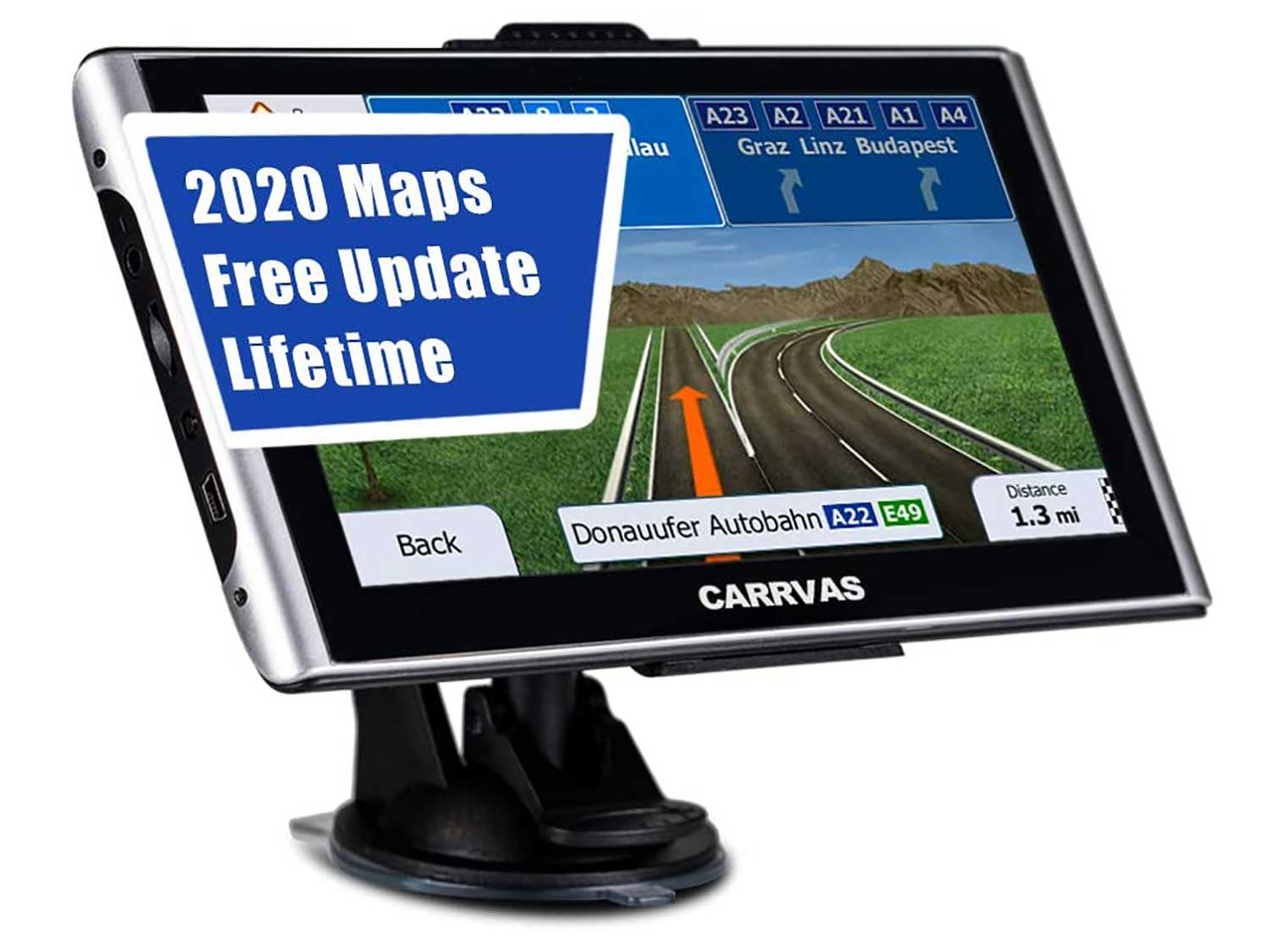 CARRVAS GPS Navigation for Car,Truck GPS,7 Inch Voice Turn Direction Guidance,Support Speed and Red Light Warning Pre-Installed US, Mexico,Canada + South America Maps