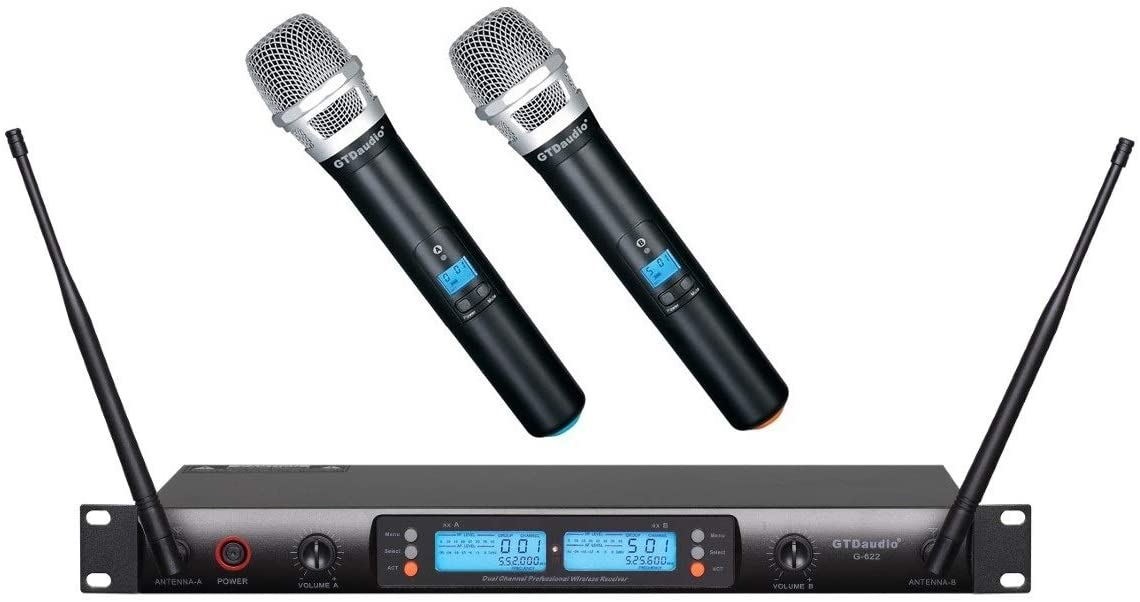 GTD Audio 2x100 Adjustable Channels UHF Wireless Cordless Handheld Microphone Mic System Ideal for Church, Karaoke, Dj Party, Range 450 ft, 622H
