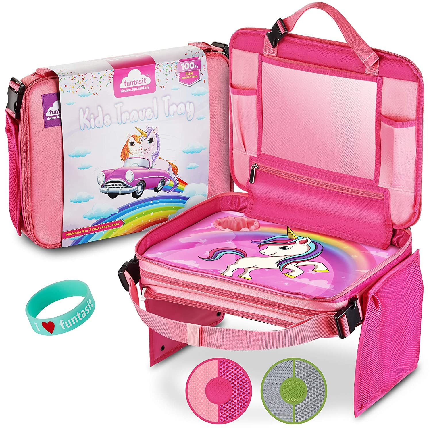 Funtasit Kids Travel Tray All-in-One Carry Bag, Play Table, Storage and Tablet Holder with Detachable Back - Side Pockets - Sturdy, Leakproof, Easy Clean. Pink