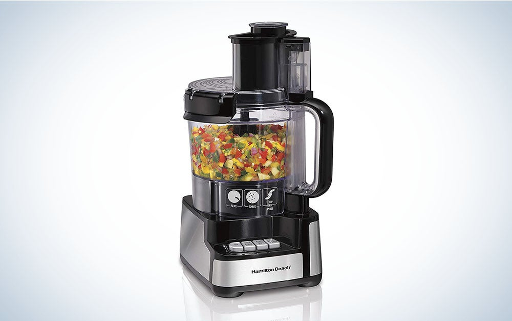 The Hamilton Beach 12-Cup Food Processor & Vegetable Chopper is the best value food grinder.