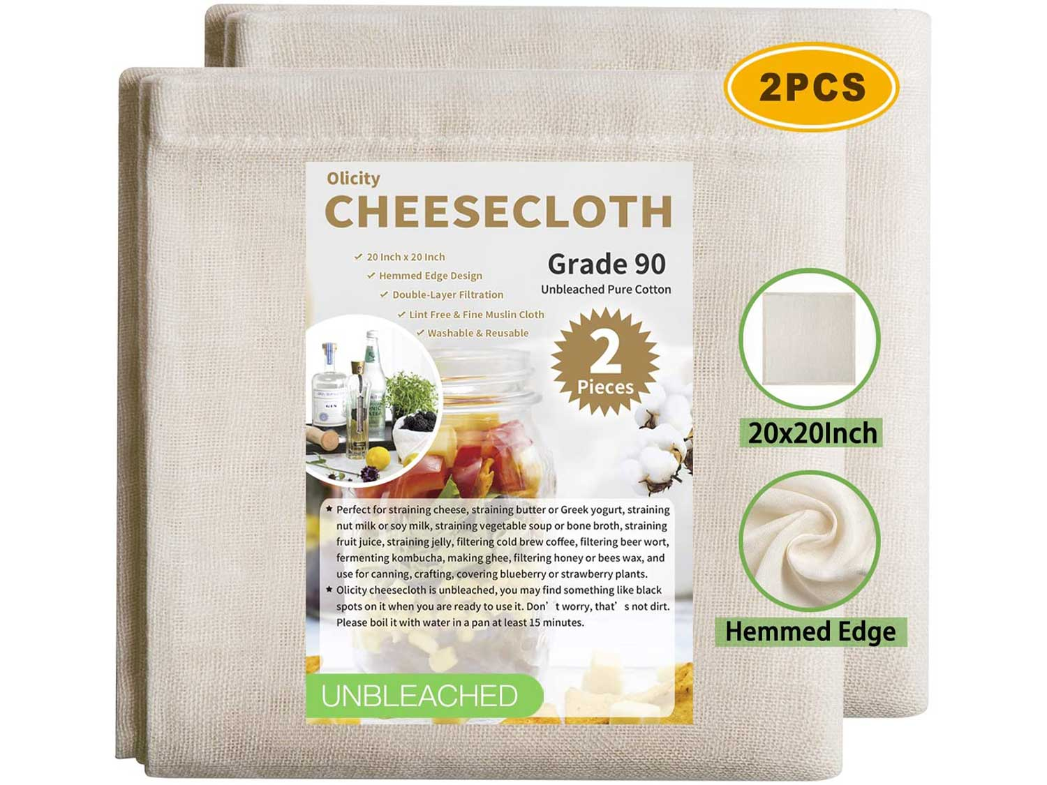 Olicity Cheesecloth, 20x20 Inch, Grade 90, 100% Unbleached Pure Cotton Muslin Cloth for Straining, Ultra Fine Reusable Hemmed Edge Cheese Cloth Filter Strainer for Cooking, Nut Milk Strain (2 Pieces)