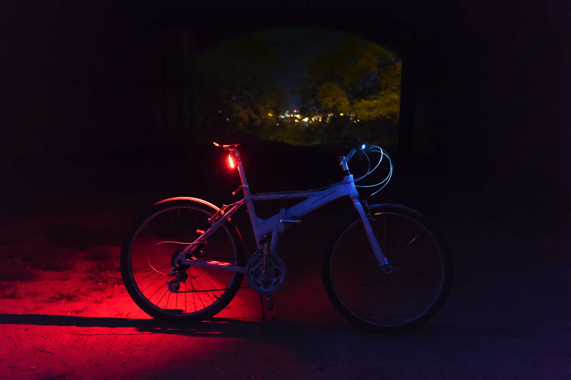 Bike with back light on at night