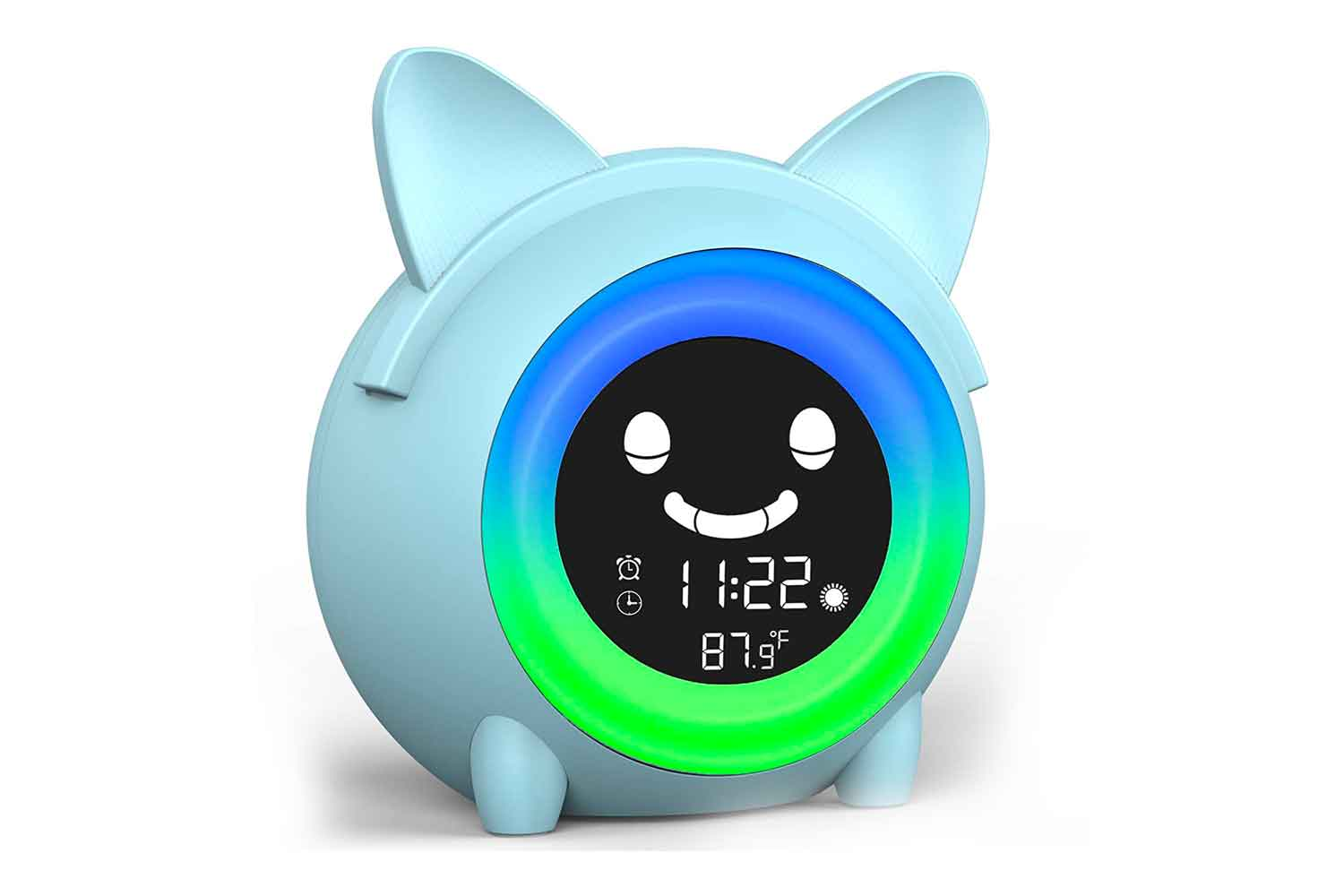 USAOSHOP Alarm Clock for Kids, Sleep Wake Up Clock for Toddlers, Children Sleep Trainer with 5 Color Night Light, NAP Timer, Cute Digital Kids Clock for Bedroom, Teach Boys Girls When Fine to Wake up