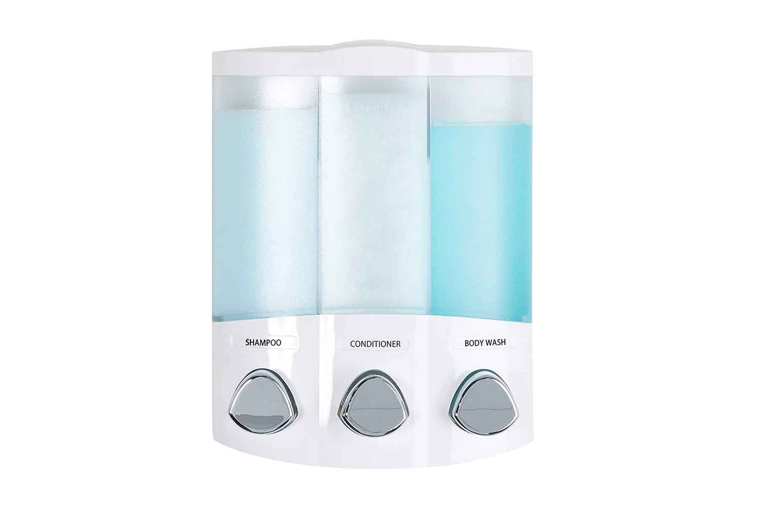 Better Living Products, White Euro Series TRIO 3-Chamber Soap and Shower Dispenser