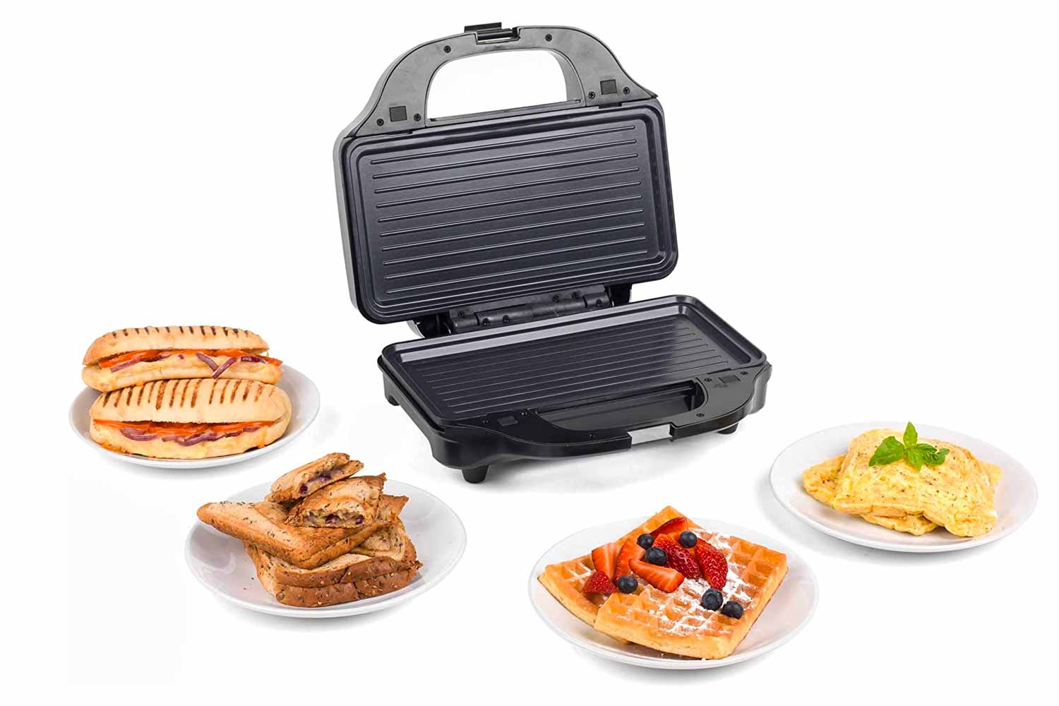 Salter EK2143FOUR XL 4-in-1 Snack Maker with Waffle, Panini, Toastie and Omelette Plates, 900 W, Stainless Steel
