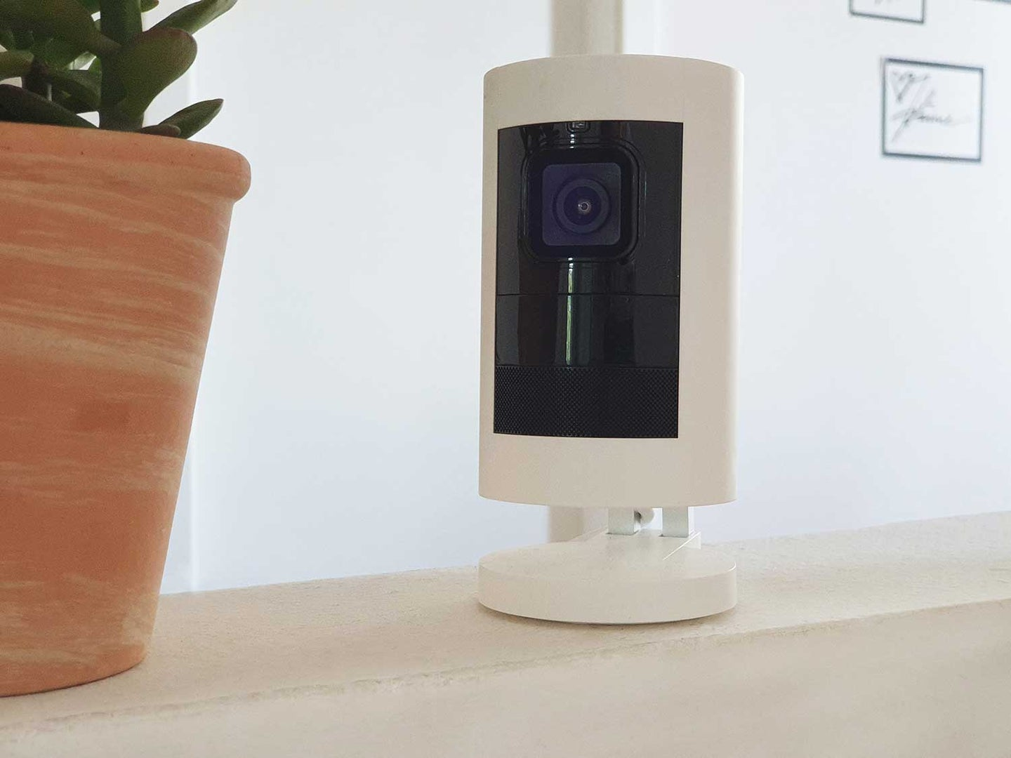 Indoor smart camera on table.
