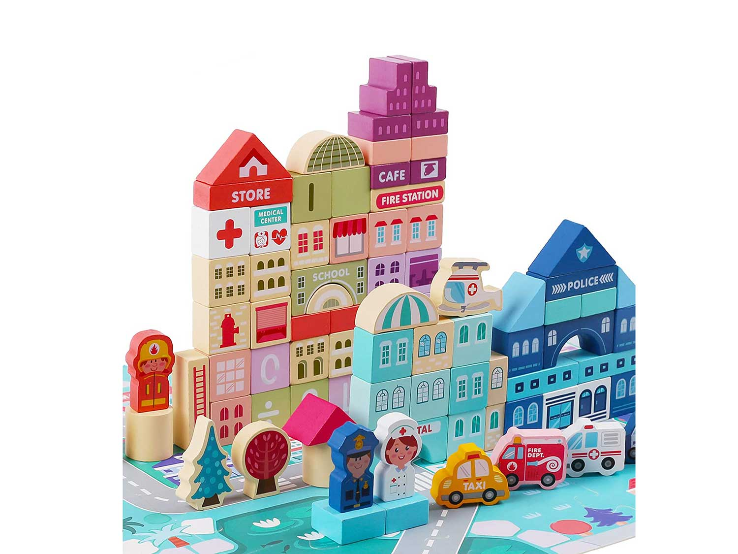 LENNYSTONE 120 Pcs Wooden Building Blocks Set for Toddlers, Creative City Construction Stacker Stacking Blocks with Play Mat, Preschool Learning Educational Toys for Kids Boys Girls Ages 3+ Year Old