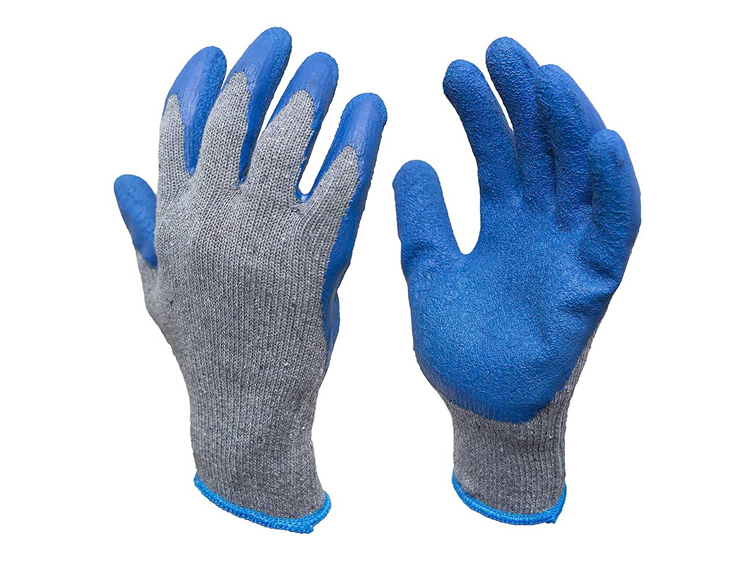 G & F Products - 3100L-DZ-Parent 12 Pairs Large Rubber Latex Double Coated Work Gloves for Construction, gardening gloves, heavy duty Cotton Blend Blue