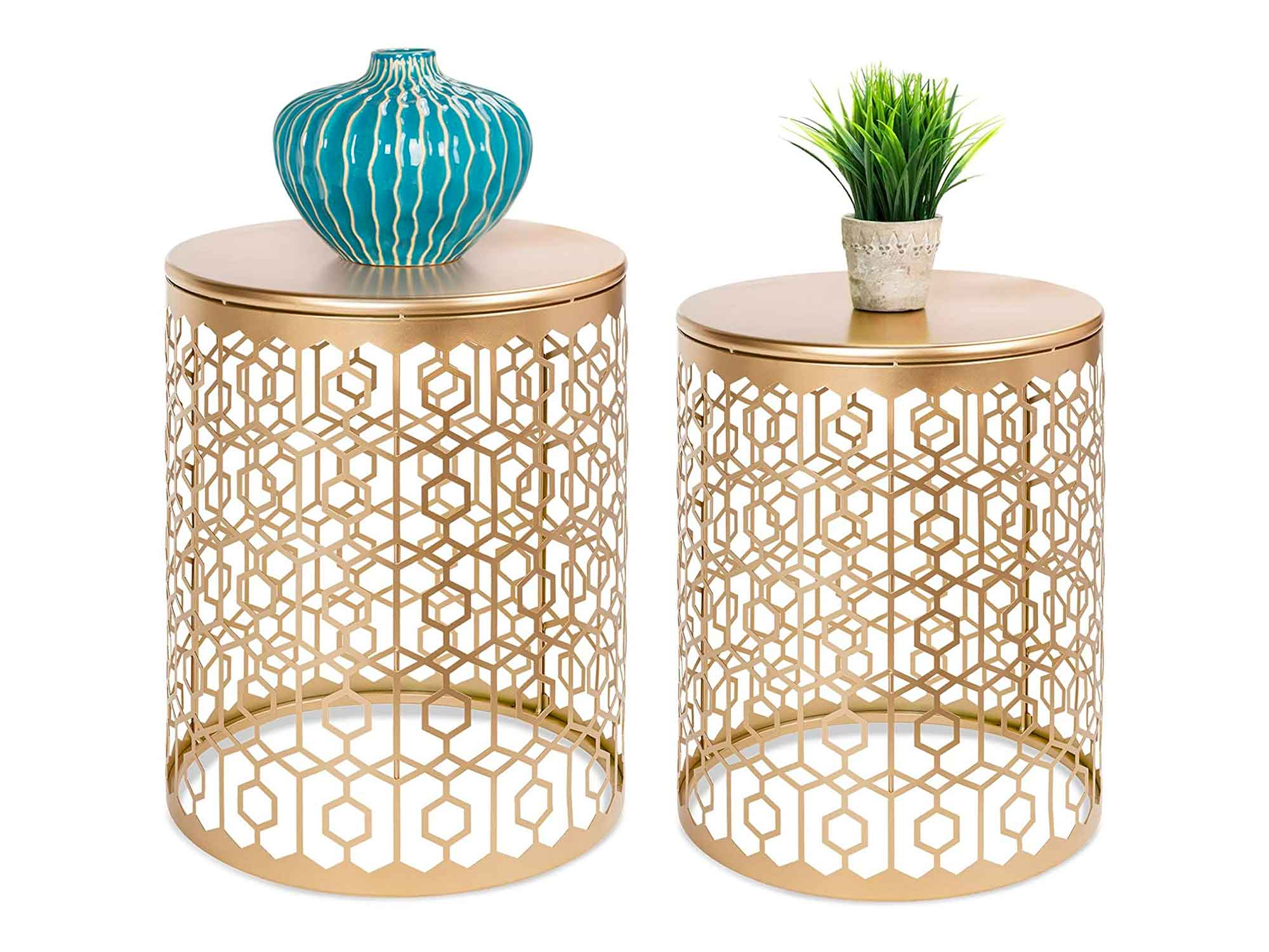 Best Choice Products Set of 2 Decorative Round Accent Side Coffee End Table Nightstands for Living Room, Bedroom, Office, Home Décor w/Nesting Design, Hexagon & Diamond Patterns - Gold