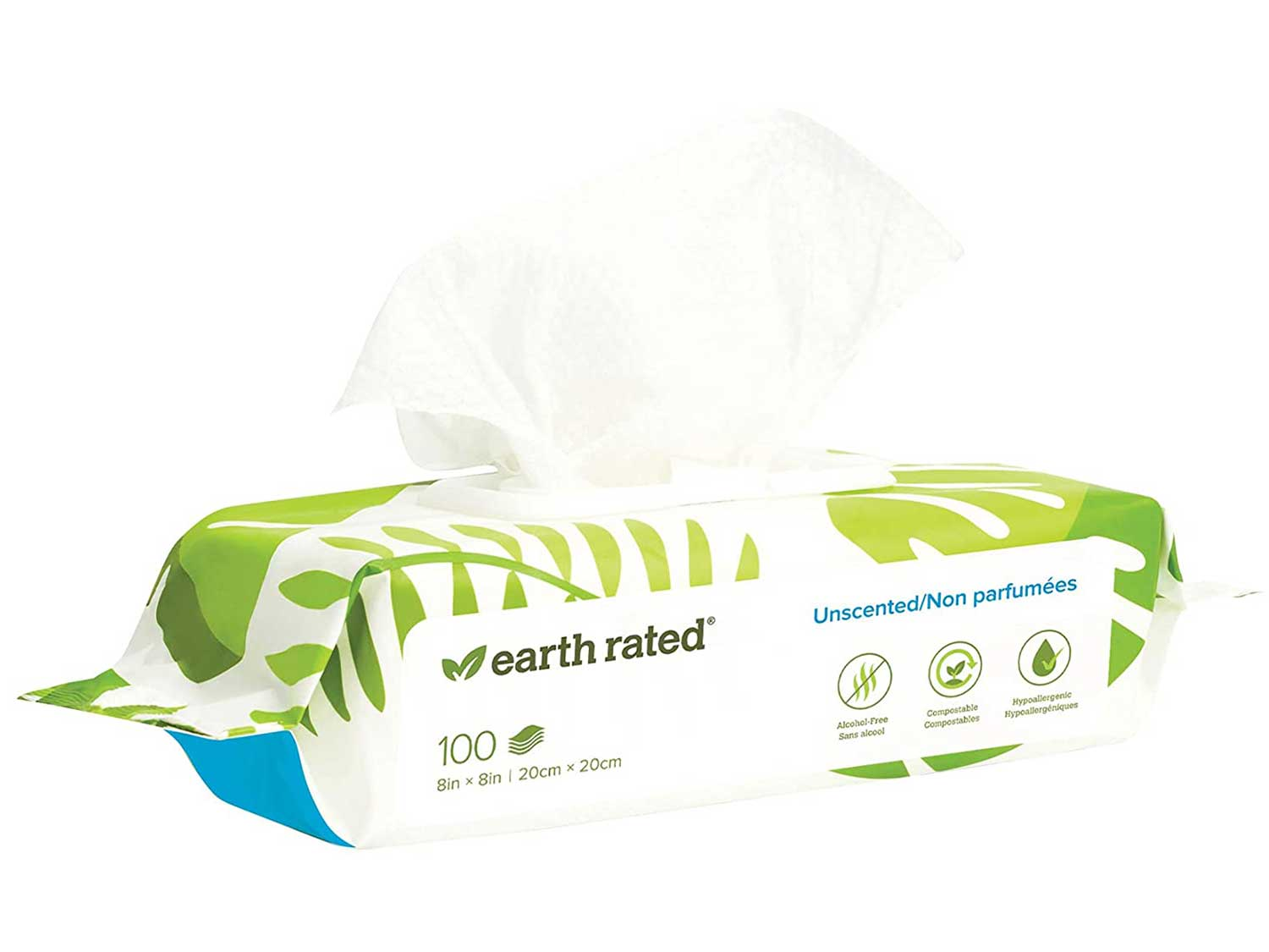 Earth Rated Dog Wipes, Plant-Based and Compostable Wipes for Dogs, USDA-Certified 99 Percent Biobased, Hypoallergenic, 8x8 Deodorizing Grooming Pet Wipes for Paws, Body and Butt