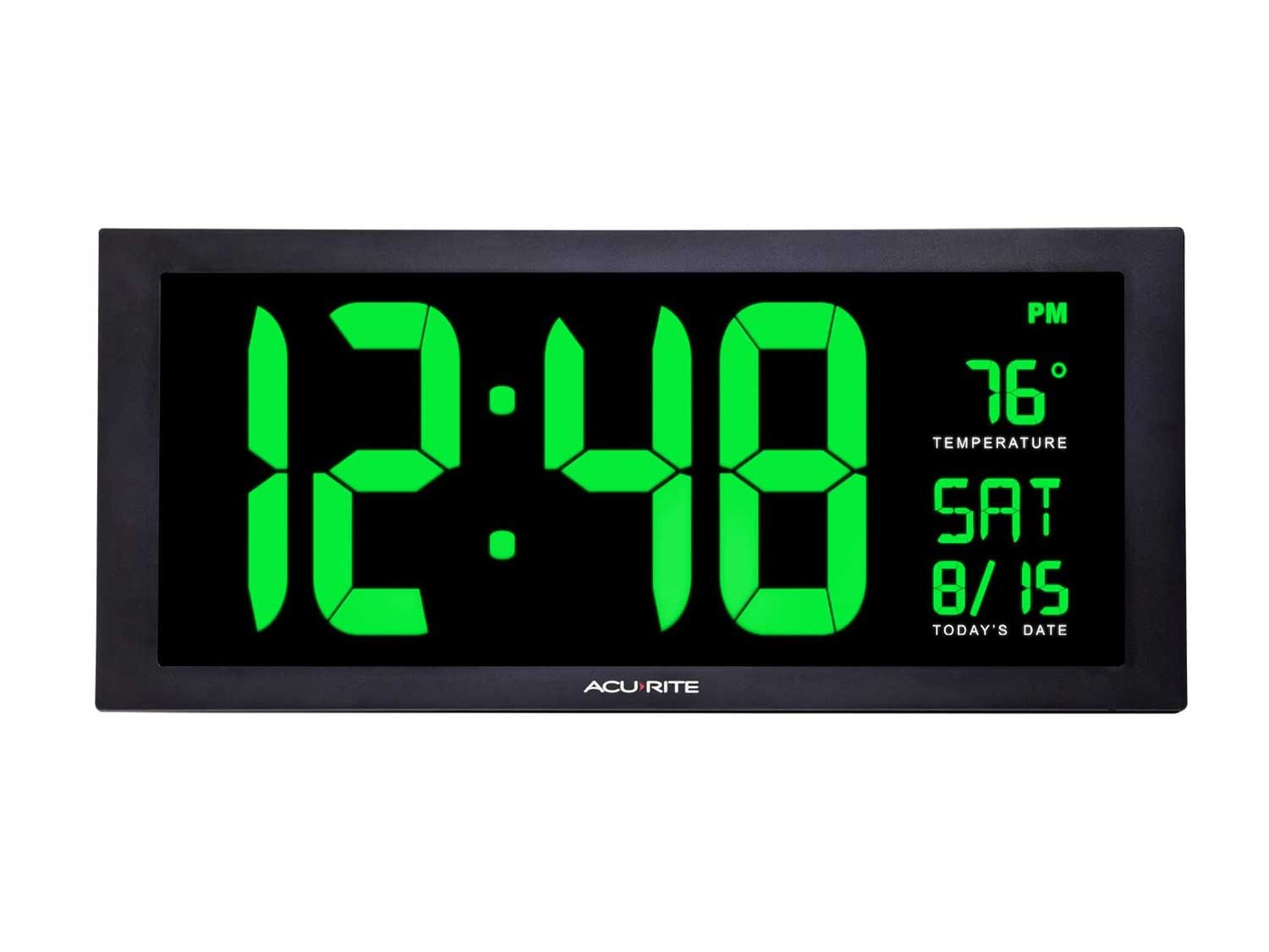 AcuRite 76101M Oversized LED Clock with Indoor Temperature, Date and Fold-Out Stand, 18