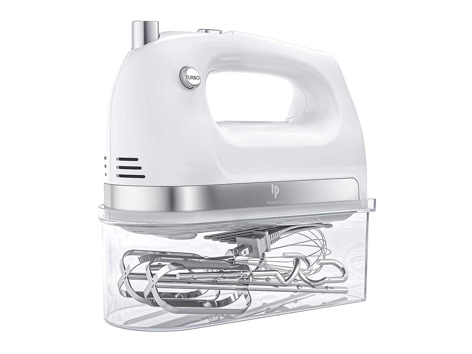 LILPARTNER Hand Mixer Electric, 400w Ultra Power Kitchen Hand Mixer With 2x5-Speed(Turbo Boost, Automatic Speed), Storage Box & 5 Stainless Steel Accessories for Cream, Cake, White