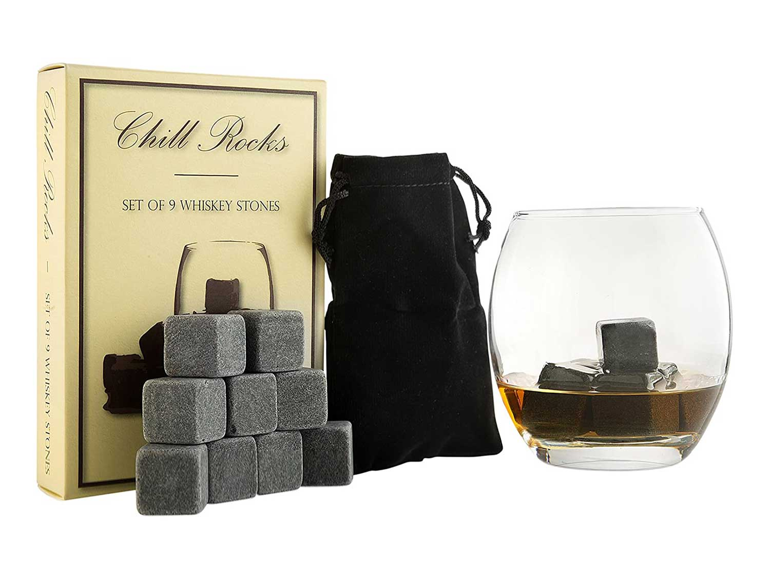 Set of 9 Grey Beverage Chilling Stones [Chill Rocks] Whiskey Stones for Whiskey and other Beverages - in Gift Box with Velvet Carrying Pouch - Made of 100% Pure Soapstone - by Quiseen