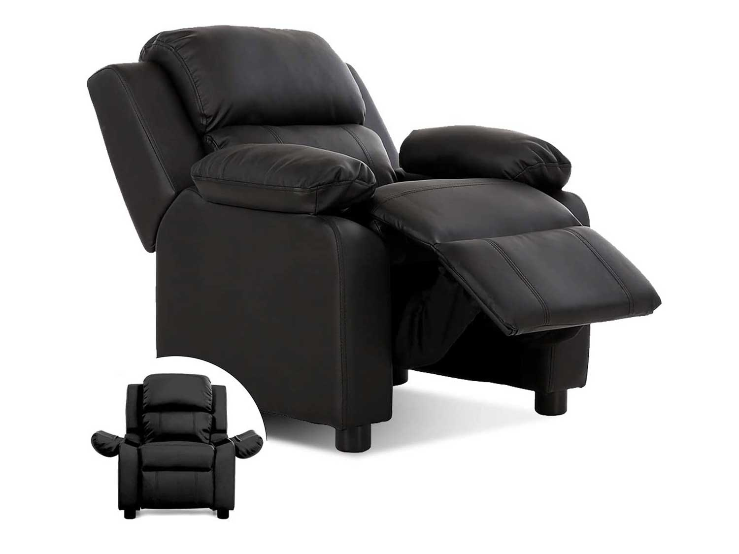 Costzon Kids Sofa Recliner, Children PU Leather Armchair W/Front Footrest, Flip-up Storage Arms, Padded Backrest, Ergonomic Contemporary Sofa for Toddler Boys Girls, Lightweight Sofa Chair (Black)
