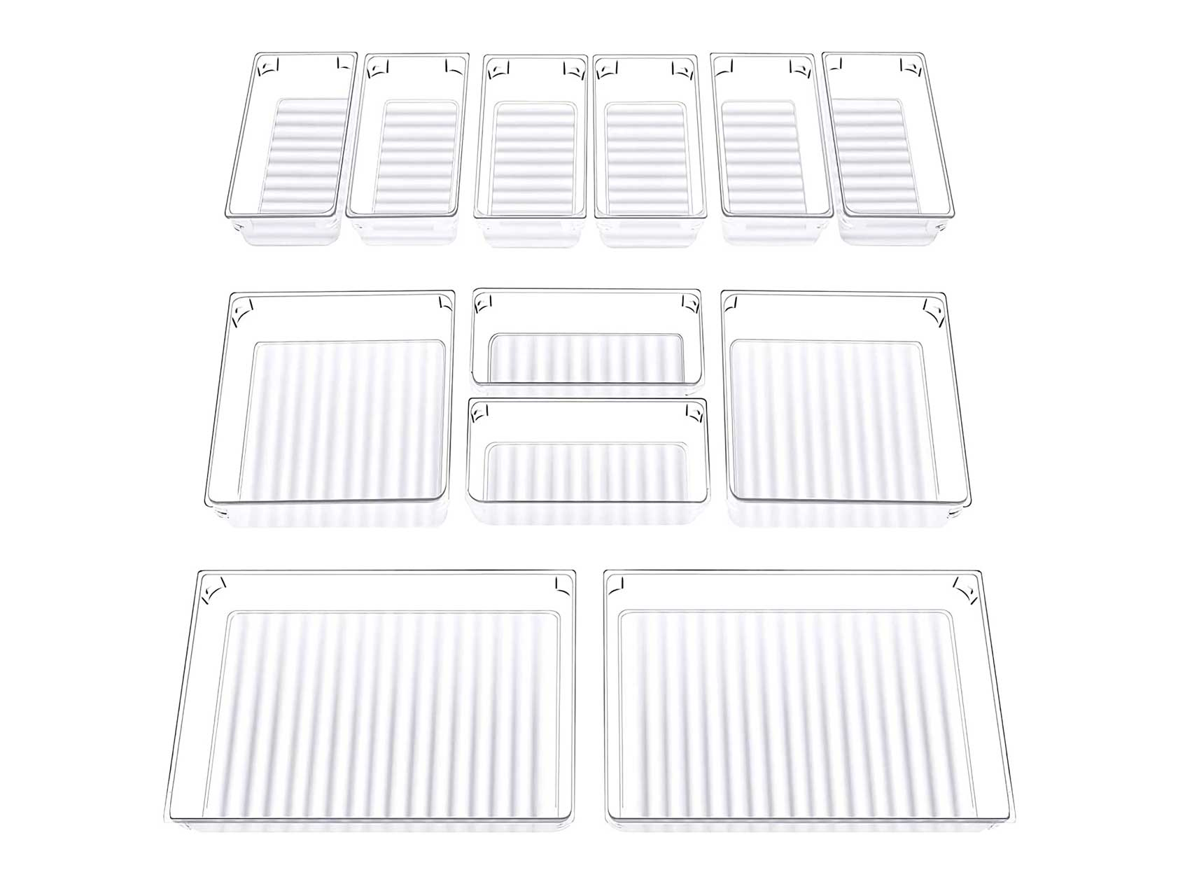 InnoGear Set of 12 Desk Drawer Organiser Trays with 3-Size Clear Plastic Storage Boxes Divider Make-up Organiser for Kitchen Bedroom Office (Frosted Transparent)