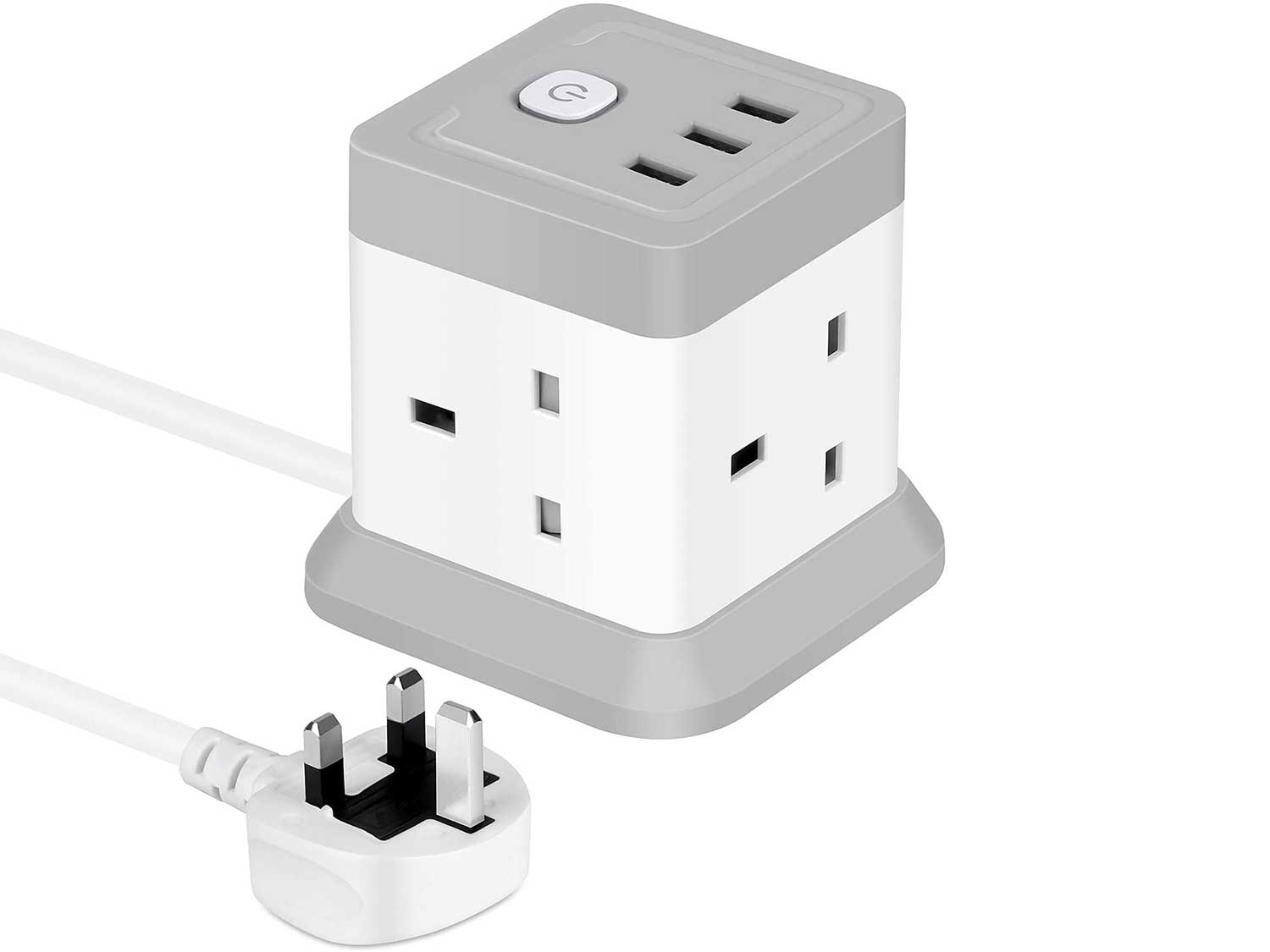 Cube Extension Lead with USB, 4 Way Power Strip with 3 USB Ports (5V/2.4A) BEVA UK Power Socket with Switch 1.5M Extension Cords for Home, Office, Travel, Dorm Room (White+Gray)