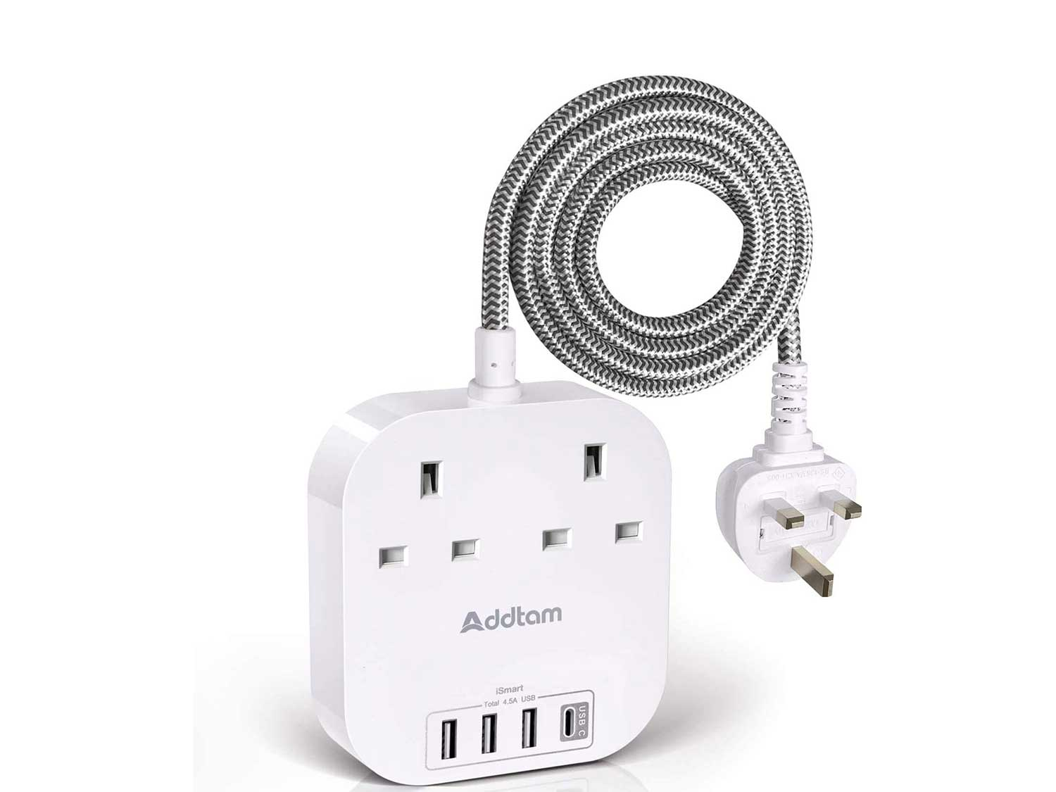 Extension Lead with USB C Ports, Power Strips with 2 Way Outlets 4 USB(4.5A, 1 Type C and 3 USB-A Port) Surge Protection Plug Extension Socket with 1.8 Meter Braided Extension cord for Home Office