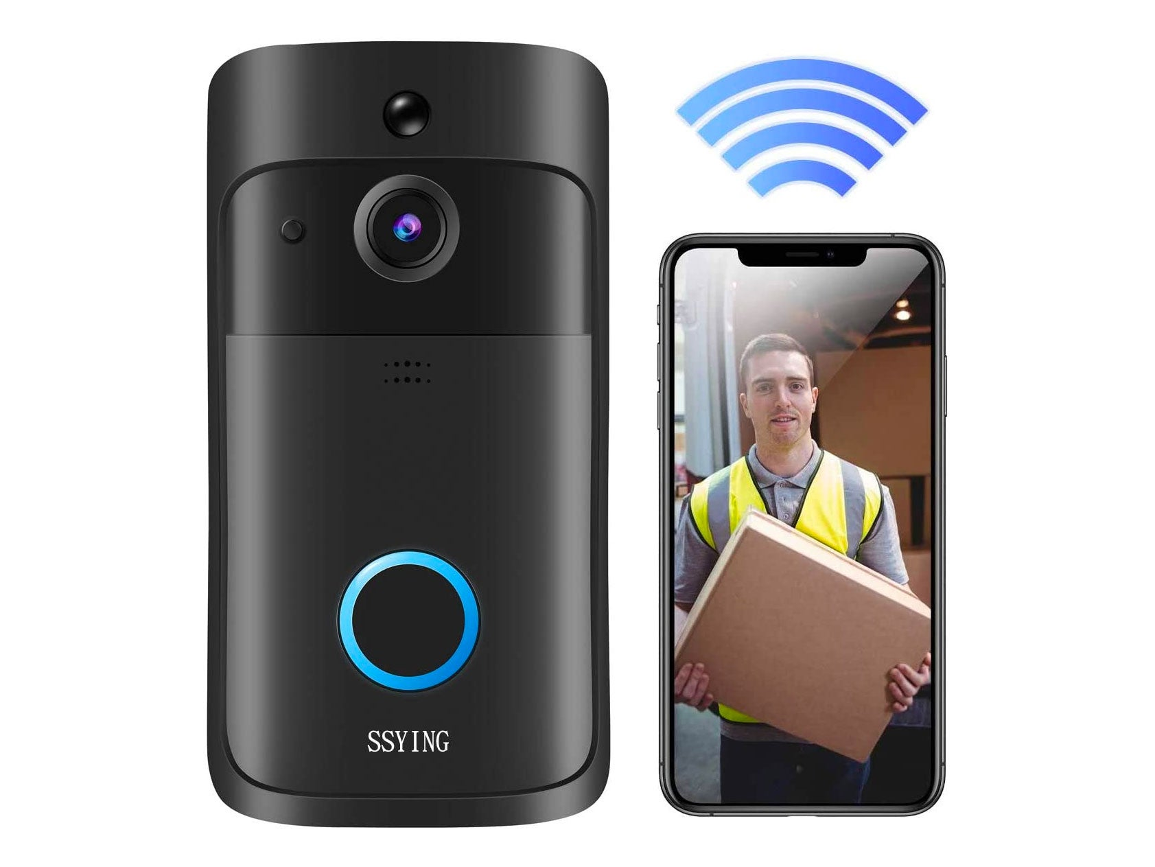 Video Doorbell, Wireless Doorbell Camera with 3 Rechargeable Batteries 2020 Upgrade HD WiFi Doorbell IP66 Waterproof Operated Motion Detector Audio&Speaker Night Vision for iOS&Android
