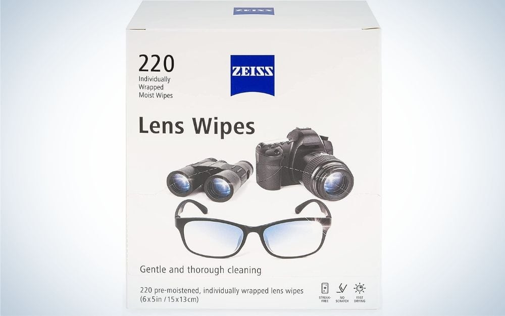 Zeiss Lens Wipes are the best eyeglass cleaners for travel.