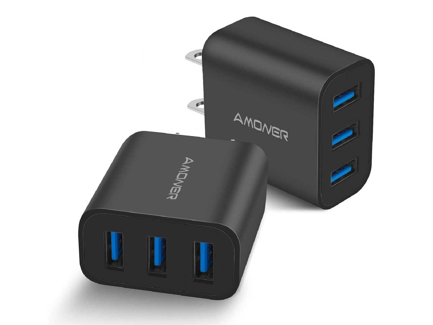 Amoner Wall Charger, Upgraded 2Pack 15W 3-Port USB Plug Cube Portable Wall Charger Plug for iPhone 12/mini/Pro/Max/11/Pro/Xs/XR/X/8/7/Plus, iPad Pro/Air 2/Mini 2, Galaxy10/9, Note10/9, and More