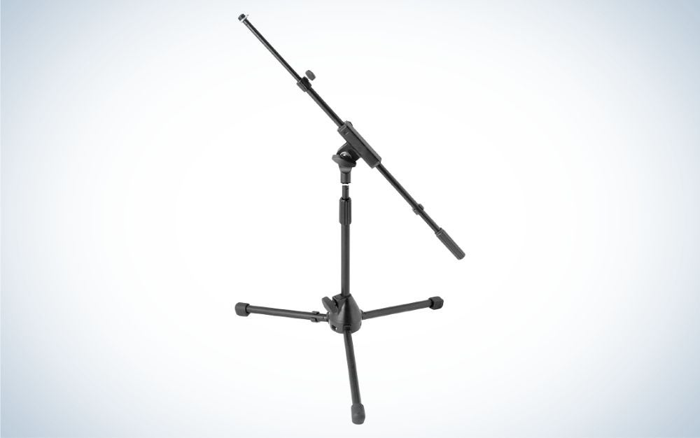 The On-Stage MS7411TB Drum/Amp Tripod Mic Stand with Tele Boom is the best microphone boom arm stand for drums and amps.