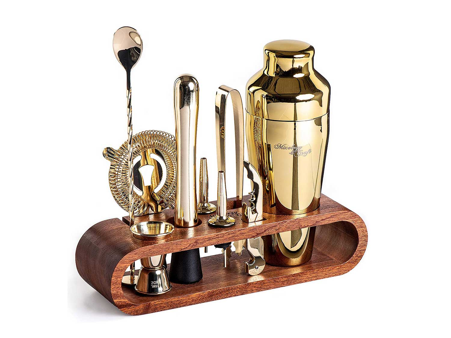 Mixology Bartender Kit: 10-Piece Bar Set Cocktail Shaker Set with Stylish Mahogany Stand   Perfect Home Bartending Kit with Bar Tools and Martini Shaker for Foolproof Drink Mixing (Gold)