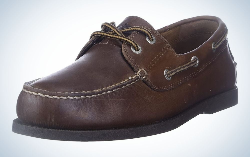 The Dockers Men's Vargas Leather Handsewn Boat Shoe is the best business casual boat shoe.