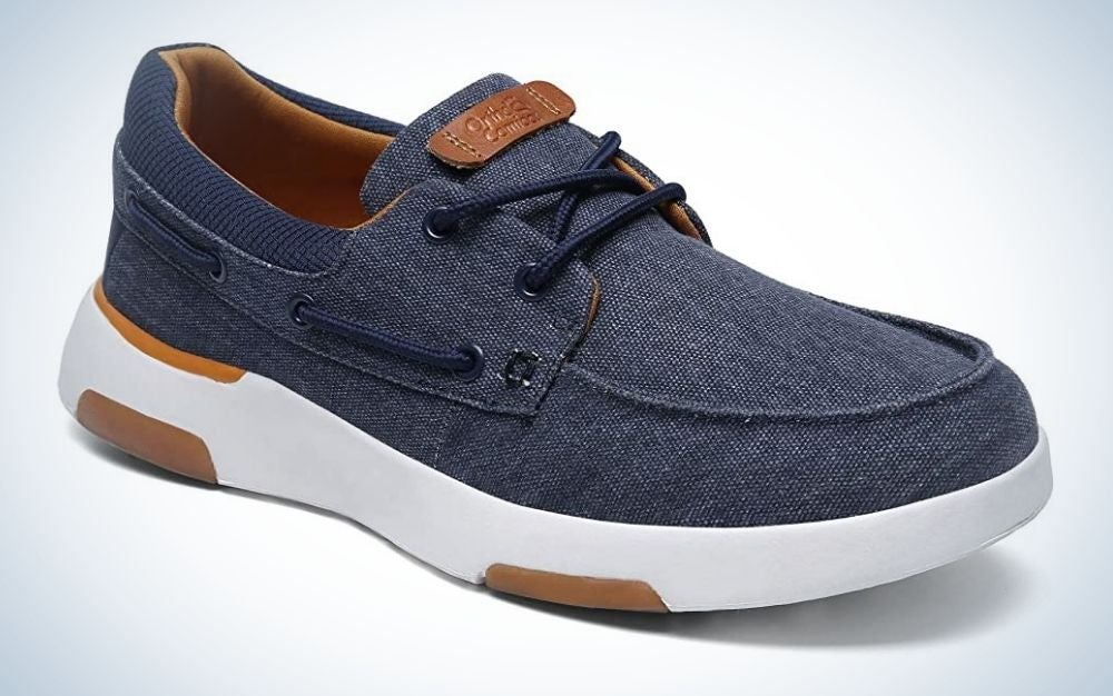 The OrthoComfoot Mens Slip on Deck Shoes, Casual Canvas Loafers with Arch Support have the best cushioning.