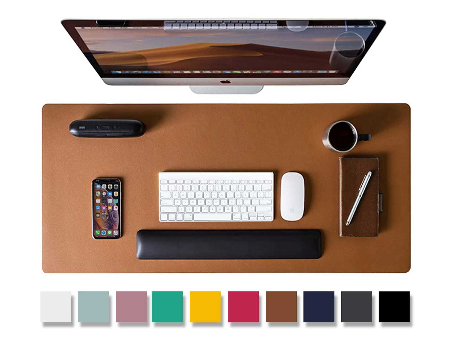 Leather Desk Pad Protector,Mouse Pad,Office Desk Mat, Non-Slip PU Leather Desk Blotter,Laptop Desk Pad,Waterproof Desk Writing Pad for Office and Home (Brown,31.5