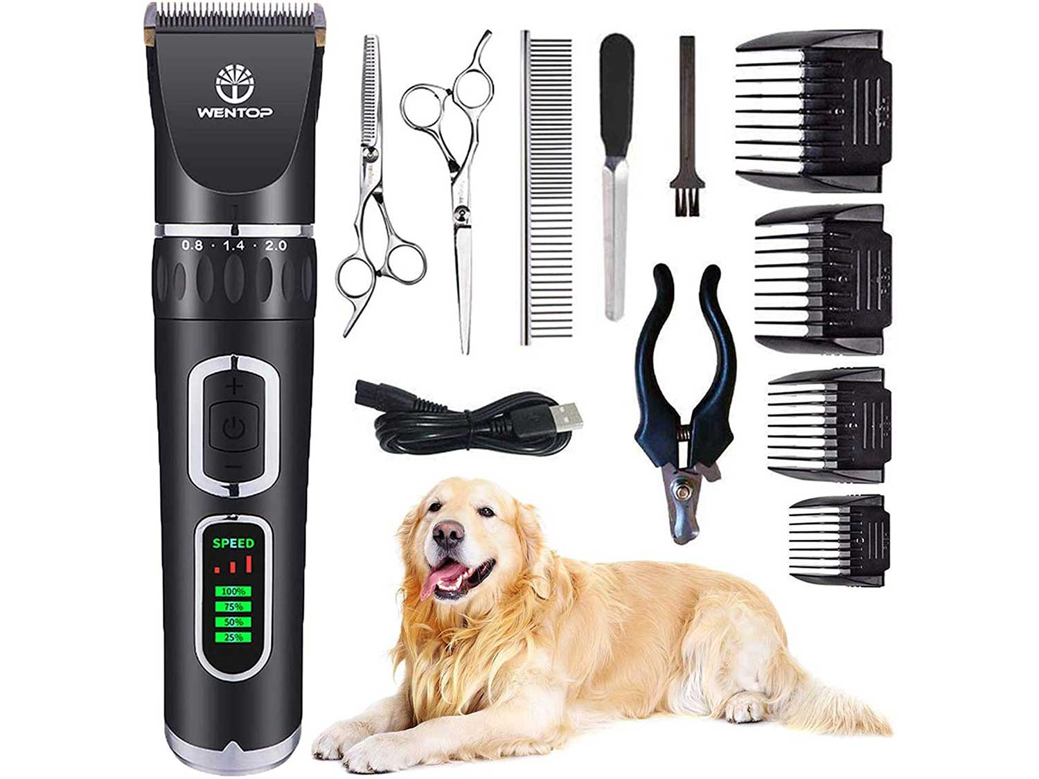 WenTop Dog Clippers, Professional 3-Speed Grooming Clippers, Rechargeable, Cordless Hair Clippers, Pet Grooming Scissor, Nail Clippers, Low Noise Electric Clippers for Dog, Cat and Other Pets