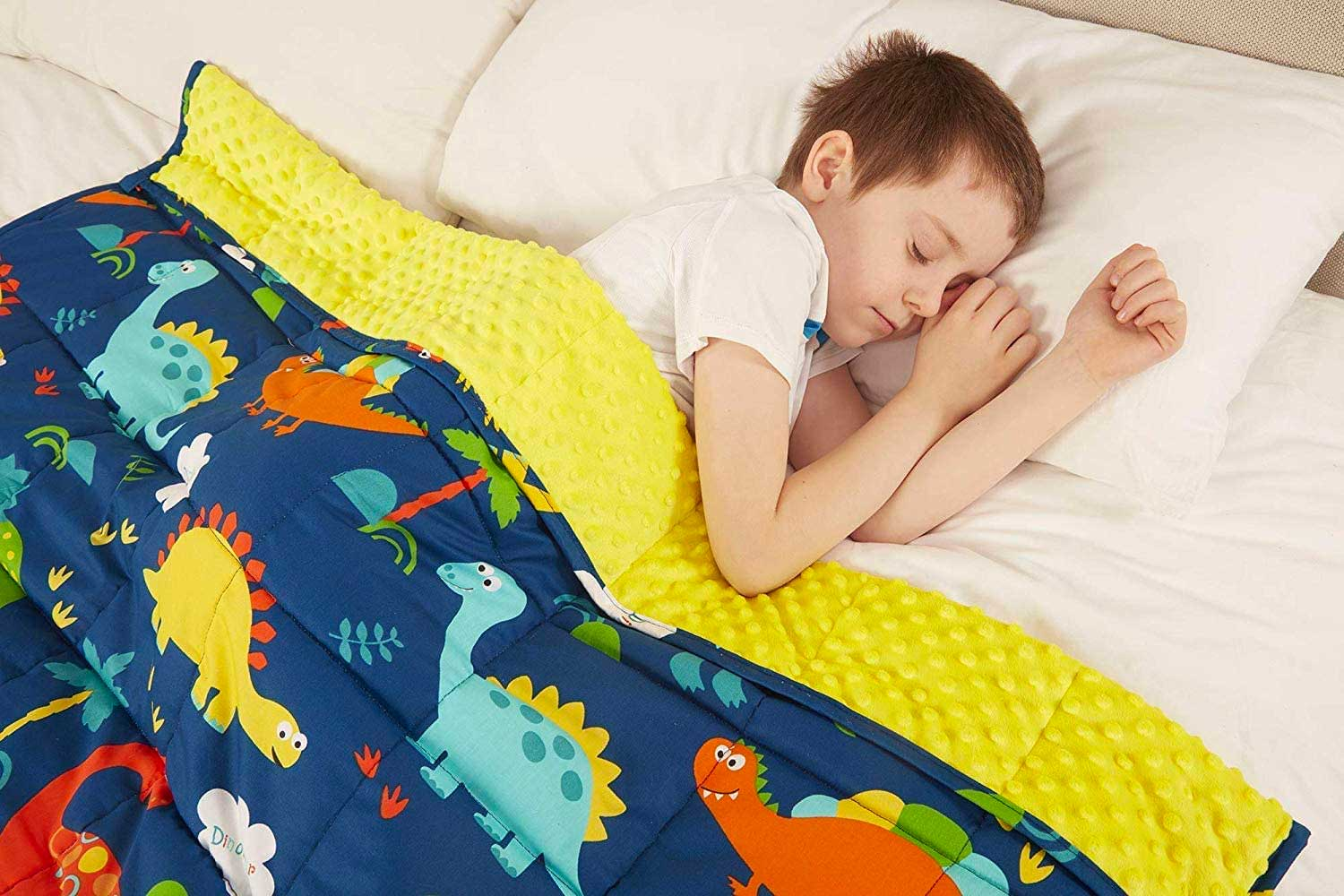 viceroy bedding Weighted Blanket for Children Kids Autism Anxiety - 100% Cotton with Sensory Soft Minky Dot Reverse Side - Heavy Weight Blanket for Sleep Therapy