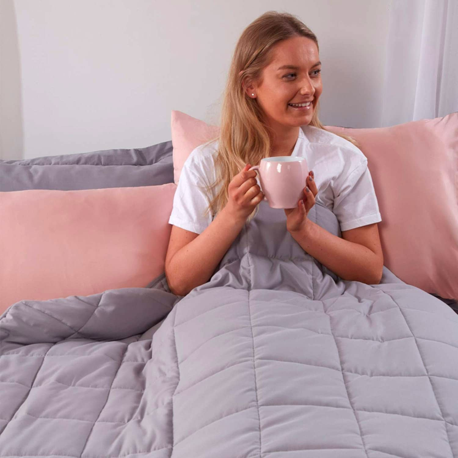 Brentfords Weighted Blanket Adults Teenagers Kids Therapy Sensory Anxiety Autism Insomnia Stress Relief-Silver Grey