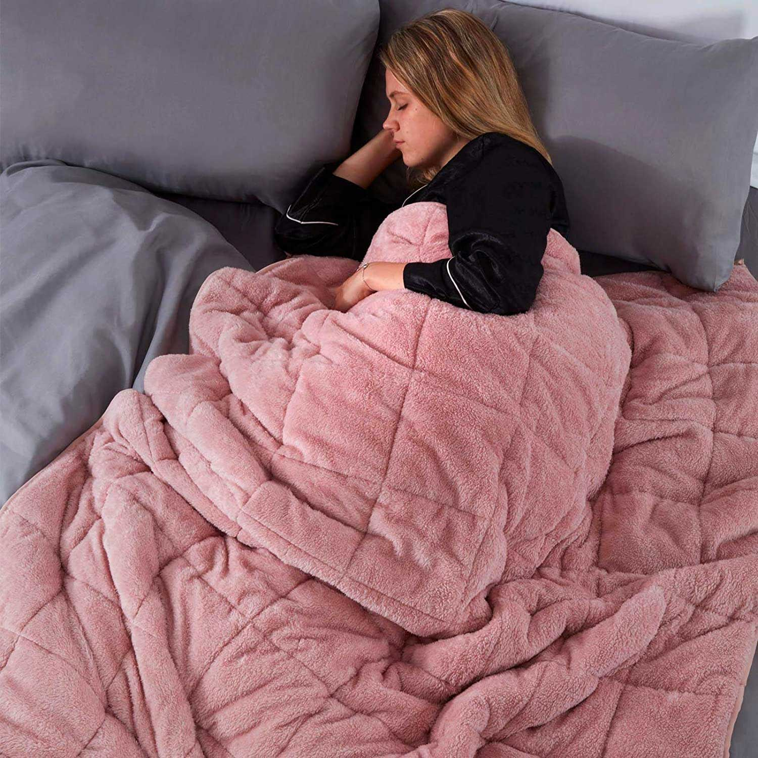 Brentfords Super Soft Teddy Fleece Weighted Blanket with Micro Glass Beads for Adult Insomnia Anxiety Stress Relief, Blush Pink