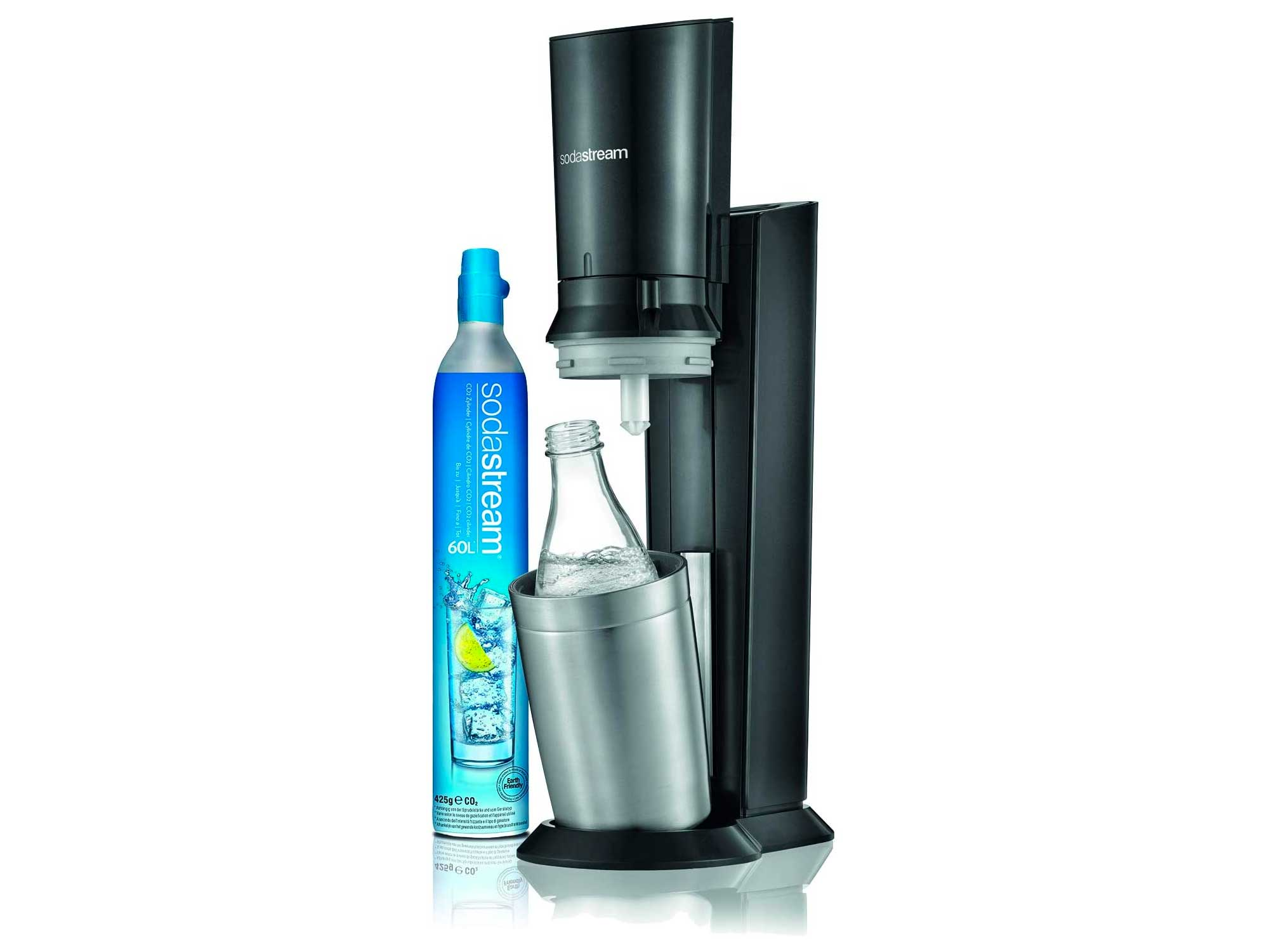 SodaStream Crystal Sparkling Water Maker with Reusable Glass Bottle, Refillable Carbonated Fizzy Water Maker, 0.6 L Carafe with 60 L CO2 Cylinder