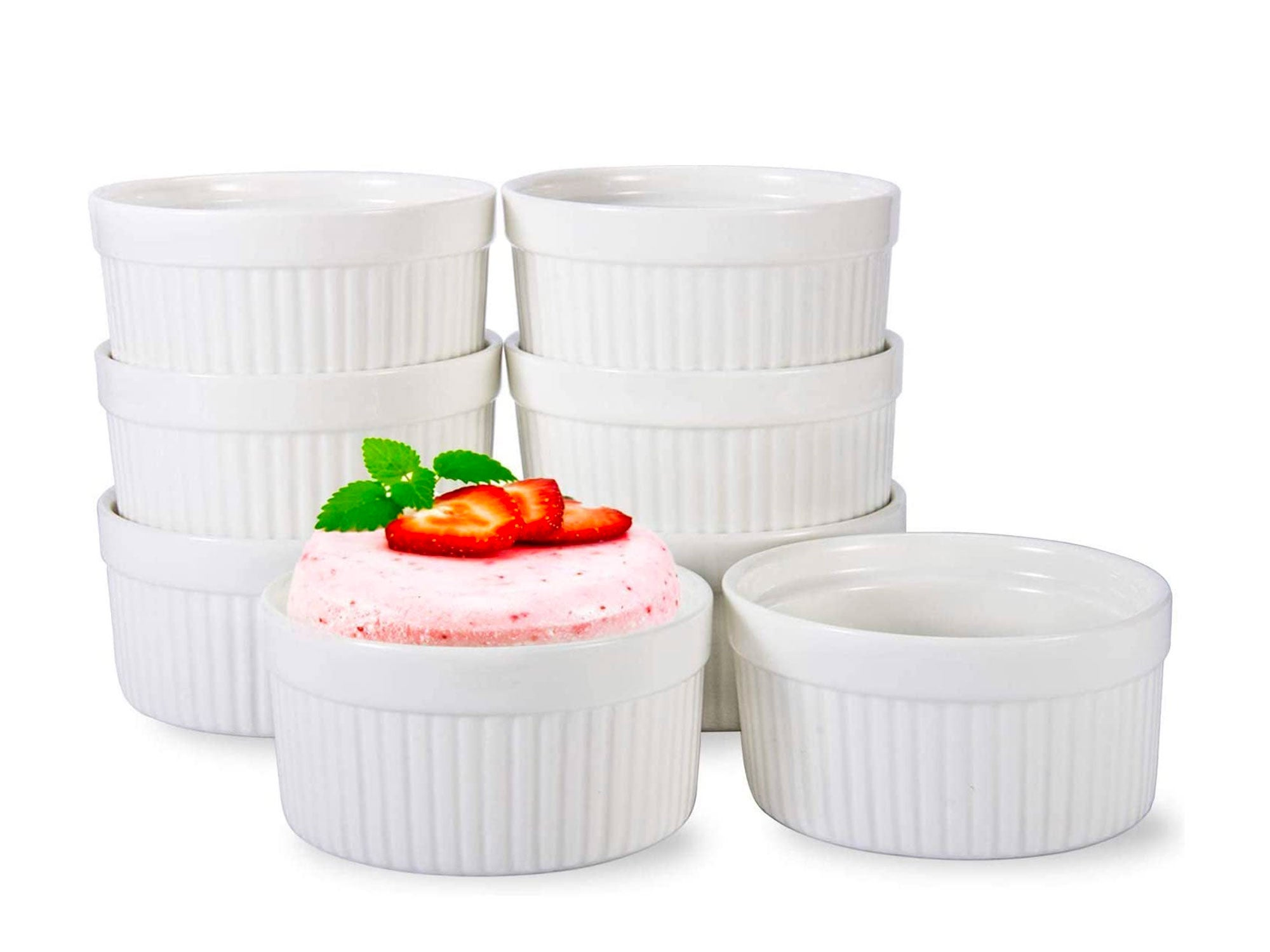 6 OZ Ramekin Bowls 8 PCS,Bakeware Set for Baking and Cooking, Oven Safe Sleek Porcelain White Ramikins for Pudding, Creme Brulee, Custard Cups and Souffle Small instant table tray