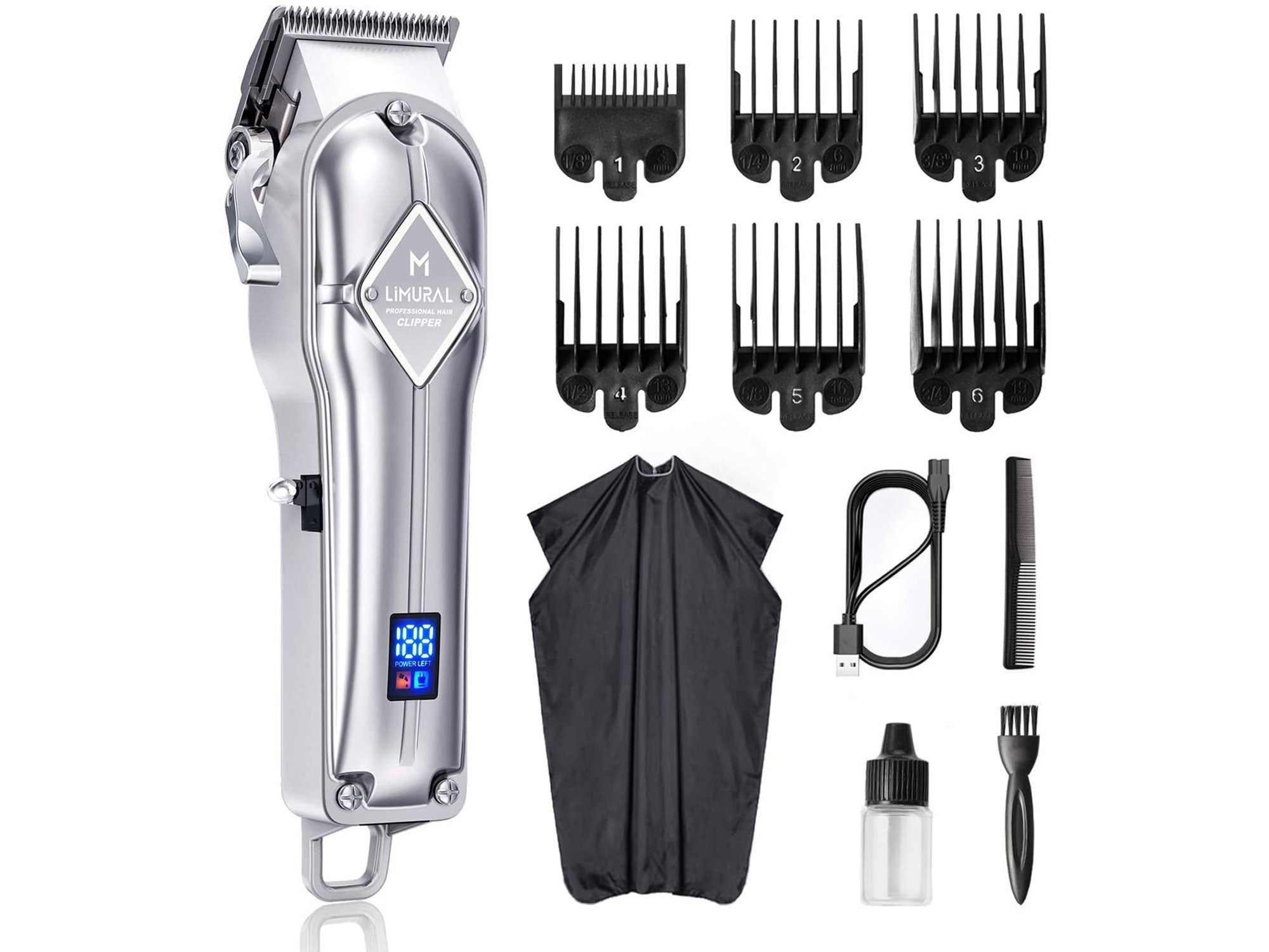 Limural Hair Clippers Men/Kids/Baby Professional Cordless Hair Clippers Beard Trimmer Mens Clipper Set Rechargeable for Family Cordless & Corded Grooming KitClipper and Body Groomer with AutoSensing Technology and 7 Attachments, Black/Blue, UK Two Pin Plug