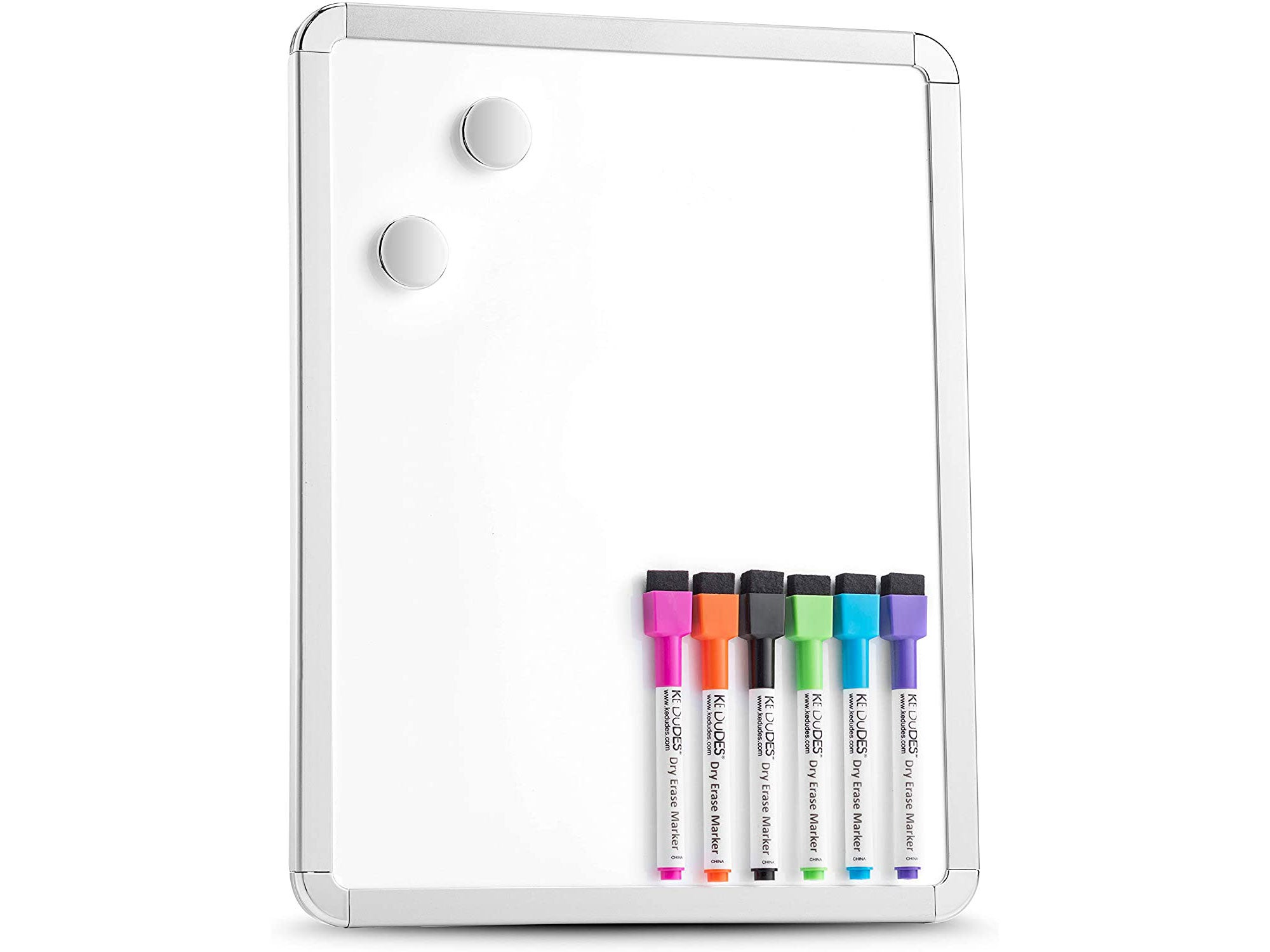 Magnetic 11′' x 14′' Small Dry Erase Board. Includes 6 Magnetic Dry Erase Markers, Assorted Colors.