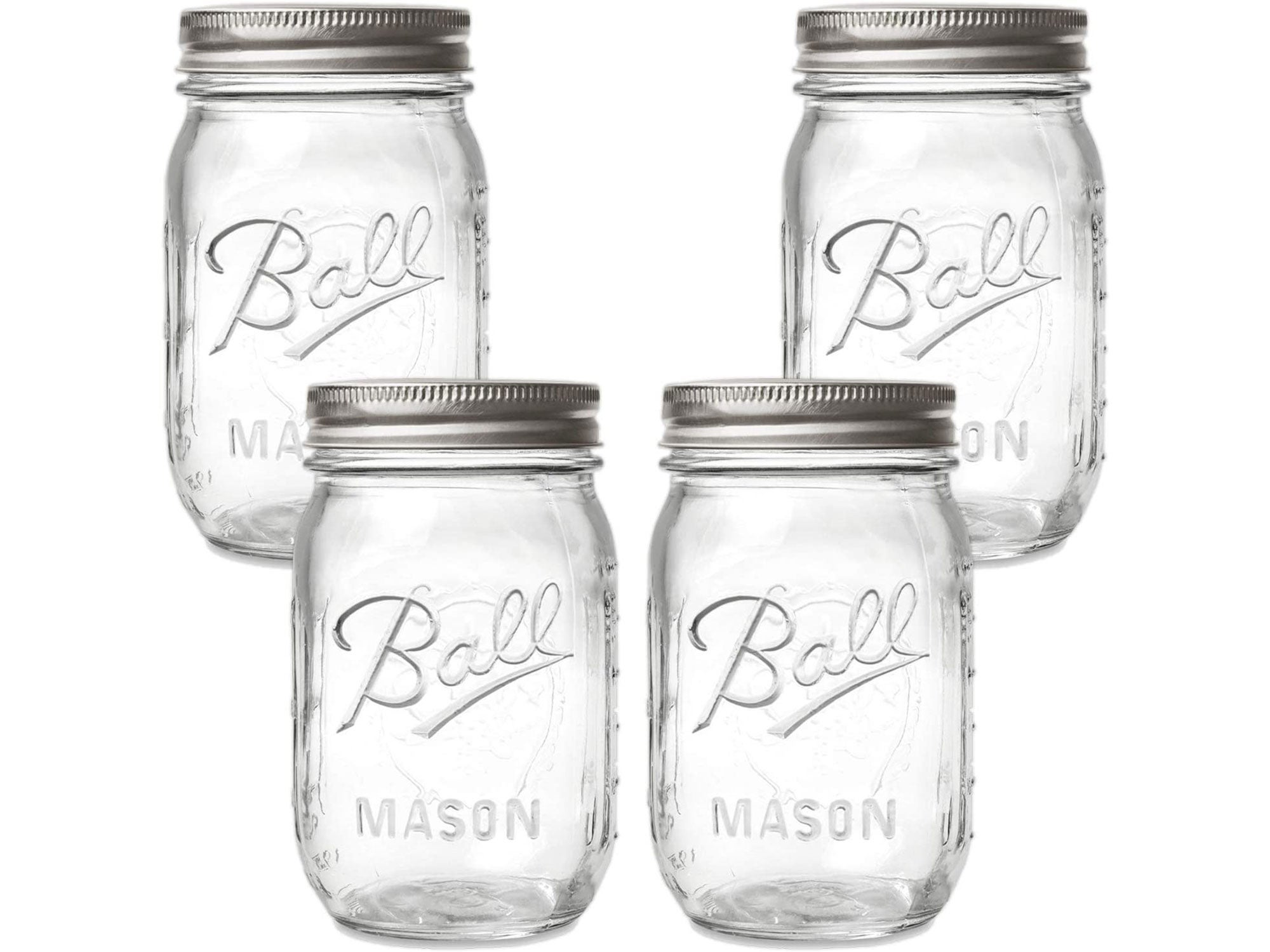 Ball Regular Mouth Mason Jars with Lids and Bands, 16-Ounces (4-Pack)