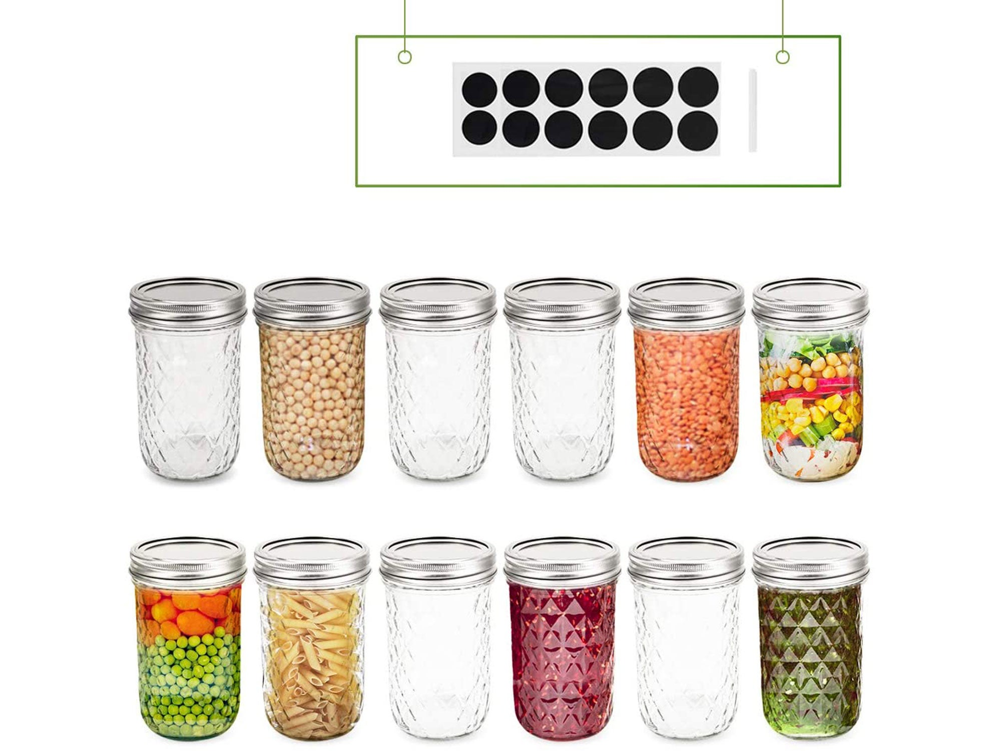 FRUITEAM 8 oz Mason Jars with Lids and Bands-Set of 12, Quilted Crystal Jars Ideal for Jams, Jellies, Conserves, Preserves, Fruit Syrups, Chutneys, and Pizza Sauce