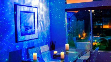 Dining room with galaxy lights