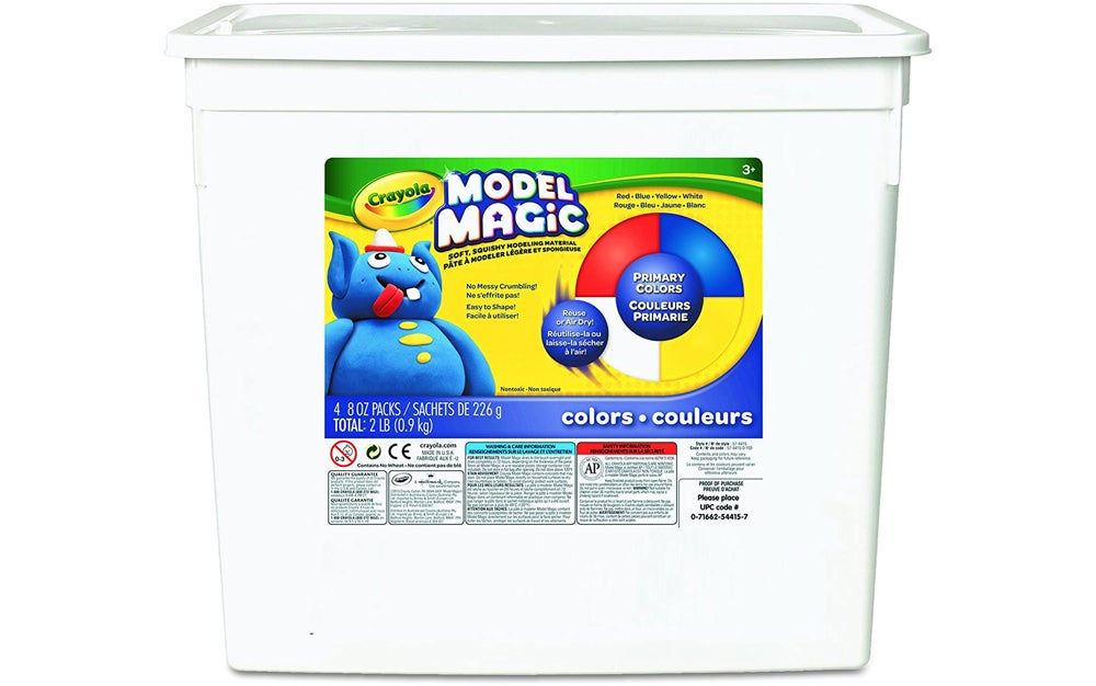 a white tub of primary color model magic