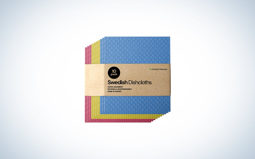 10-pack of blue, yellow, and red sponge cloths
