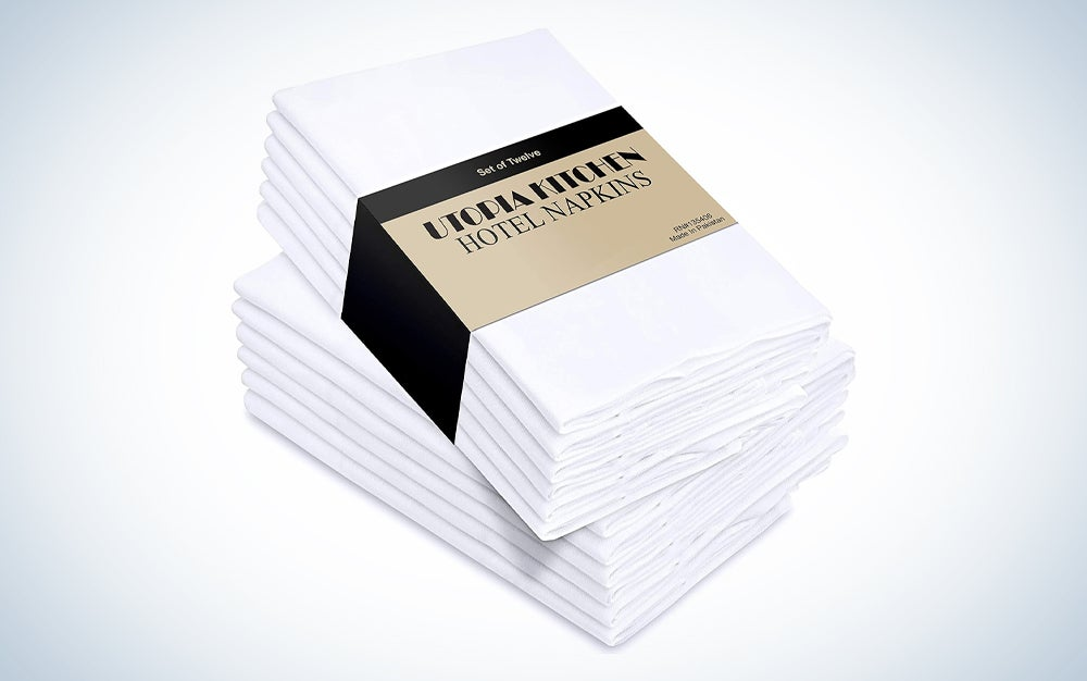 two-pack of 12 white napkins