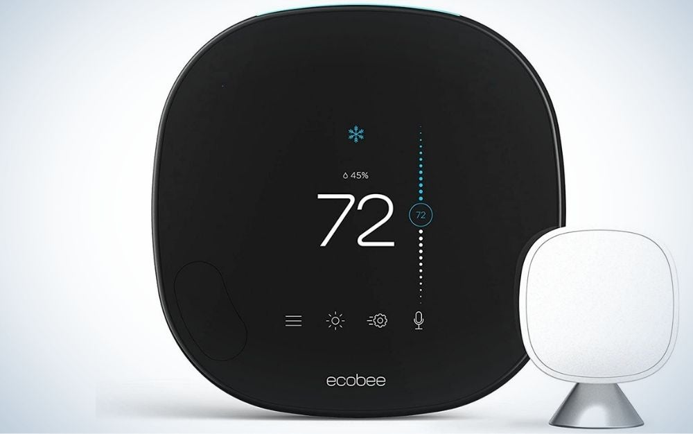 Black Smart Programmable Thermostat in the front