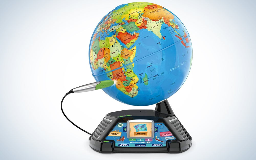 globe with an electronic panel on the base and stylus pointing at Africa