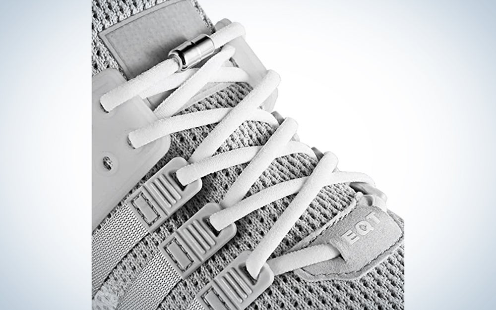 white no-tie shoelaces on gray eqt sneakers