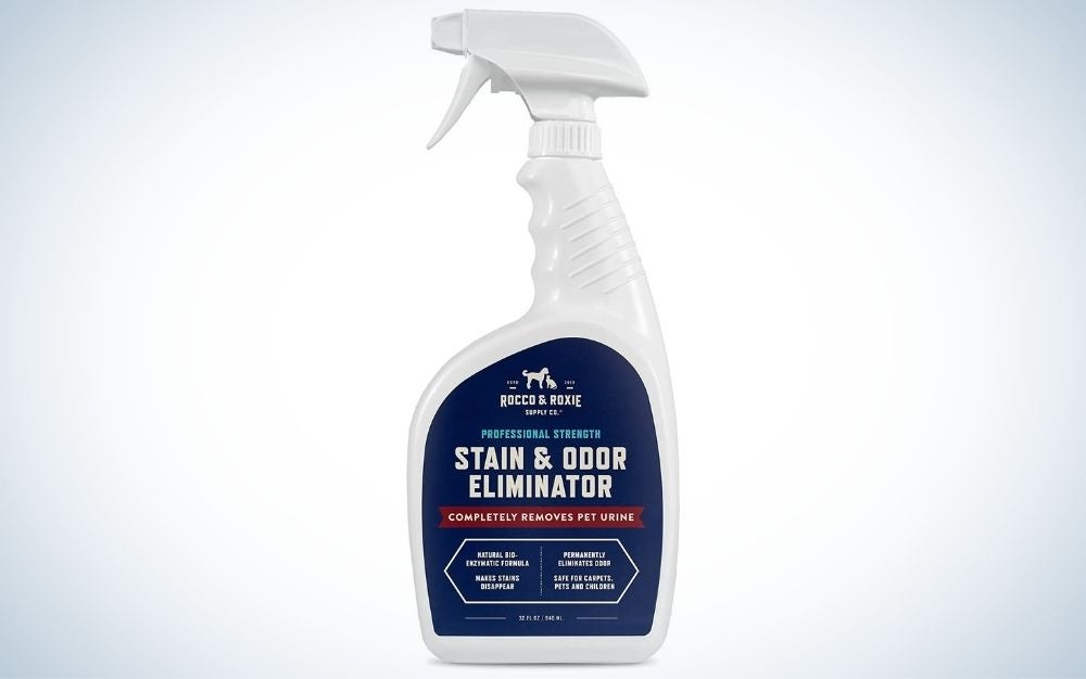 Rocco & Roxie Professional Strength Pet Stain and Odor Eliminator is the Best Overall.