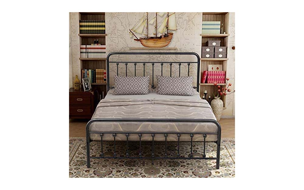 The Elegant Home Products Victorian-Style Metal Bed Frame is the best open frame queen-sized headboard.