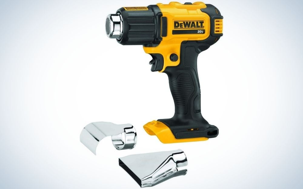 DEWALT 20V Cordless Heat Gun with yellow body and black head and holder.
